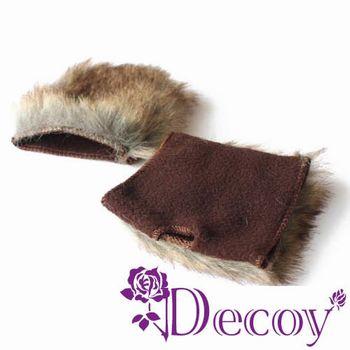 【Decoy】時尚皮草*仿兔毛露指手套/二色可選
