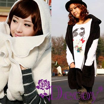 【Decoy】披肩羊絨*連帽手套圍巾/二色可選
