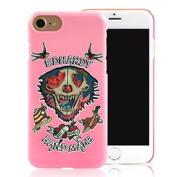 Ed Hardy iPhone 7 (4.7吋)亮面保護殼-玫瑰骷髏