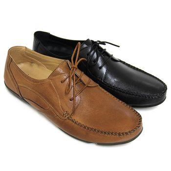 【GREEN PHOENIX】經典自然極簡素面綁帶全真皮平底休閒鞋(男鞋)-棕色、黑色