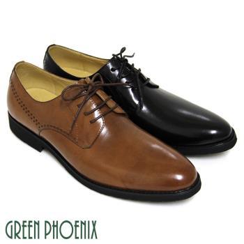 【GREEN PHOENIX】雷射雕花綁帶全真皮低跟輕量皮鞋(男鞋)-棕色、黑色