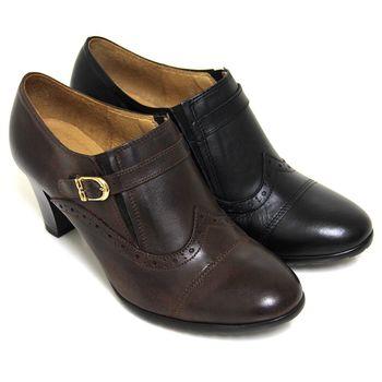 【GREEN PHOENIX】雷射雕花刷舊金屬皮扣全真皮粗高跟牛津踝靴-可可色、黑色