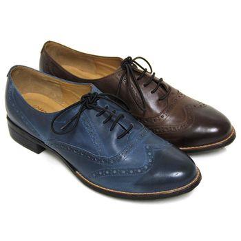 【GREEN PHOENIX】文青雷射雕花臘感彈性綁帶牛皮低跟牛津鞋-可可色、藍色