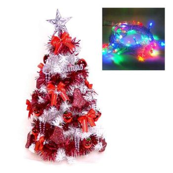 台灣製夢幻2呎/2尺(60cm)經典白色聖誕樹(紅色系)+LED50燈插電式透明線彩光