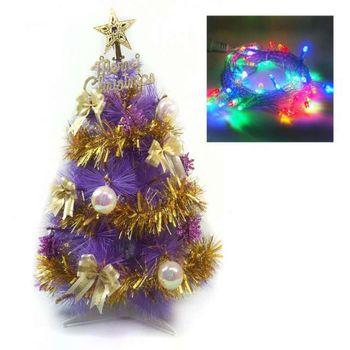 台灣製2尺(60cm)特級紫色松針葉聖誕樹 (金色系配件)+LED50燈彩色燈串(插電式透明線)