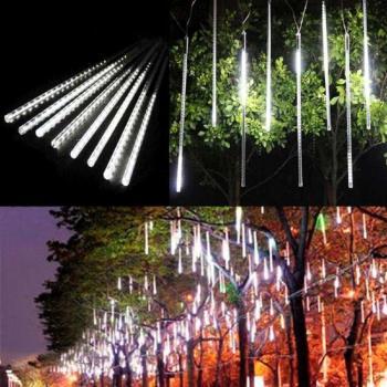 聖誕燈裝飾燈LED流星燈串8條燈(白光插電式/單燈長50cm)
