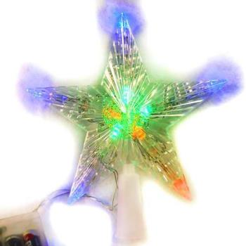 聖誕燈LED透明樹頂星電池燈 (彩光) (高亮度又環保)(可裝飾於聖誕樹頂或窗戶等)