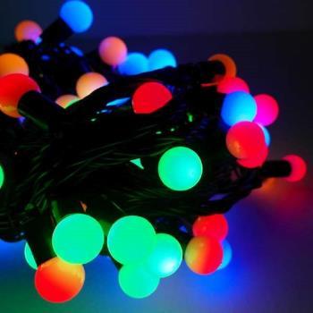 聖誕燈100燈LED圓球珍珠燈串(插電式/彩色光黑線/ 附控制器跳機)(高亮度又省電)