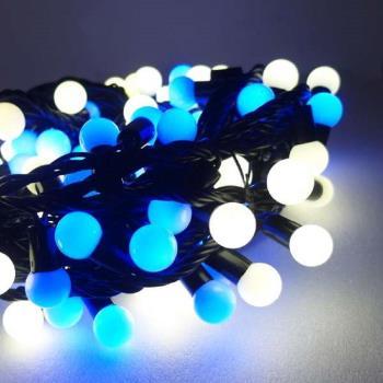 聖誕燈100燈LED圓球珍珠燈串(插電式/藍白光黑線/ 附控制器跳機)(高亮度又省電)