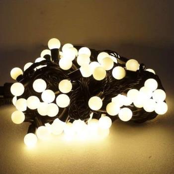 聖誕燈100燈LED圓球珍珠燈串(插電式/暖白光黑線/ 附控制器跳機)(高亮度又省電)