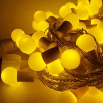 聖誕燈100燈LED圓球珍珠燈串(插電式/暖白光透明線/ 附控制器跳機)(高亮度又省電)