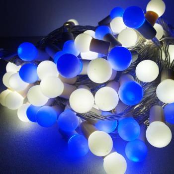 聖誕燈100燈LED圓球珍珠燈串(插電式/藍白光透明線/ 附控制器跳機)(高亮度又省電)