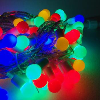聖誕燈100燈LED圓球珍珠燈串(插電式/彩色光透明線/ 附控制器跳機)(高亮度又省電)