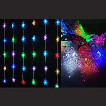 LED燈60燈水晶雪花造型窗簾燈聖誕燈(彩光)(附控制器跳機) (高亮度環保)
