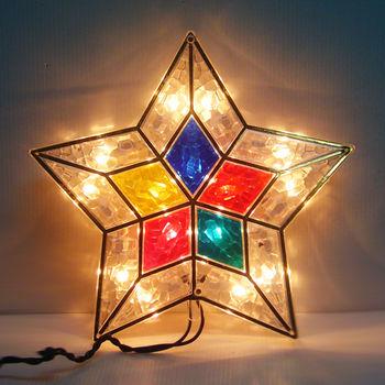 聖誕樹頂燈15燈(清光燈色+華麗五角星彩罩) 鎢絲燈插電式(可裝於聖誕樹頂或窗戶邊等)