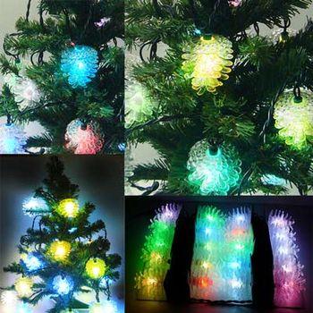 聖誕燈 LED 20燈松果造型七彩燈 (高亮度又省電)(附IC控制器跳機)