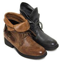 ~GREEN PHOENIX~仿舊刷色寬版金屬皮扣綁帶綿羊皮兩穿低跟工程靴 ^#45 棕色