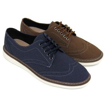 【GREEN PHOENIX】仿麂皮雷射雕花綁帶平底牛津鞋(男鞋)-咖啡色、藍色