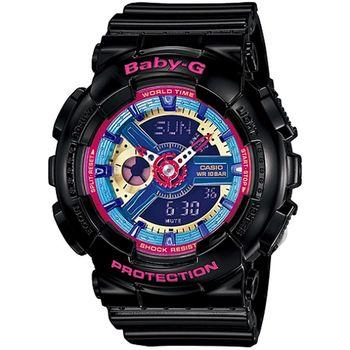 Baby-G 炫彩系列復刻版女錶-黑x彩色_BA-112-1A