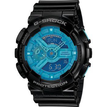 G-SHOCK 炫彩系列復刻版男錶-黑x藍_GA-110B-1A2
