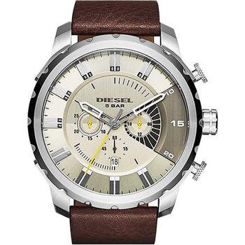 DIESEL Oniy The Brave 野戰潮流計時腕錶-黃x咖啡/50mm DZ4346