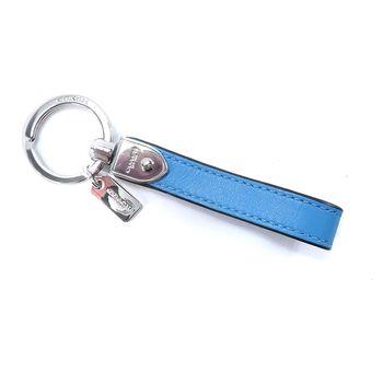 COACH 長條造型皮革鑰匙圈(藍)