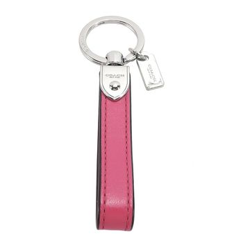 COACH 長條造型皮革鑰匙圈(粉桃)