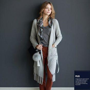 【SCL南加州丹寧時尚】T1681 淺灰長版毛邊下襬腰帶造型輕薄風衣外套