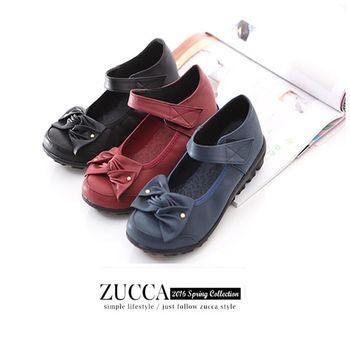 ZUCCA【Z6008】疊層朵結魔鬼氈平底鞋-黑色/藍色/紅色