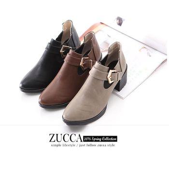 ZUCCA【Z6011】亮面皮革扣環低跟踝靴-黑色/灰色/棕色