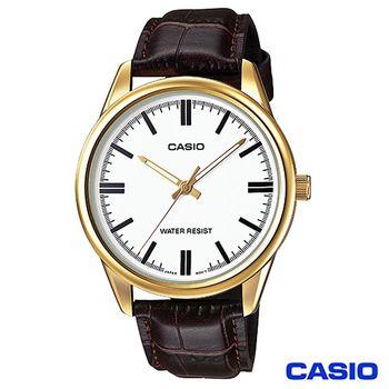 CASIO卡西歐 簡潔風格皮帶男錶-白 MTP-V005GL-7A