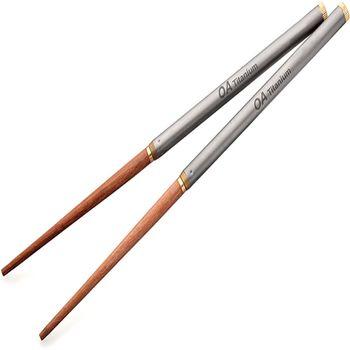 OA露營配件用品-鈦極 輕鈦紅木雙節筷28g