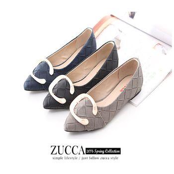 ZUCCA【Z6027】菱格C字母尖頭平底鞋-黑色/灰色/藍色