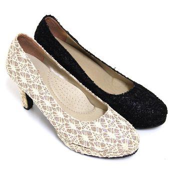 【Pretty】優雅蕾絲金蔥高跟鞋-米色、黑色