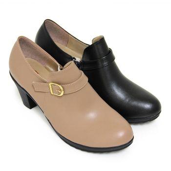 【Pretty】輕熟一字皮扣側拉鍊粗高跟踝靴-可可色、黑色