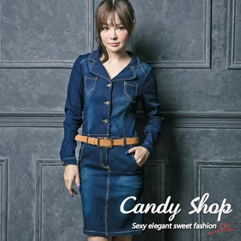 Candy 小鋪     翻領彈性修身顯瘦連身牛仔洋裝-0097905(附贈腰帶)