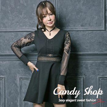 Candy 小鋪     新品特色款腰間縷空手袖蕾絲A字傘擺連身裙(白/黑/紅)-0097881