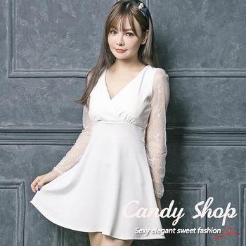 Candy 小鋪     新品V領蕾絲後背交叉傘擺連身洋裝(白色/紅色)-0097878
