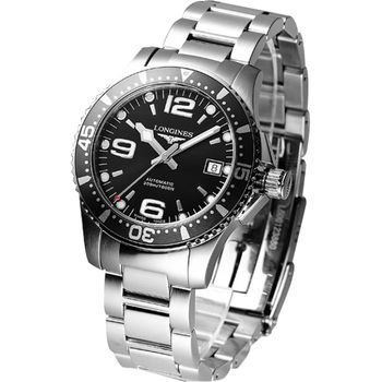 LONGINES 浪琴 深海征服者300米機械潛水錶-黑/39mm L36424566