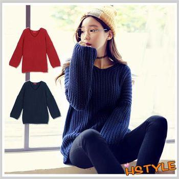 毛衣 V領質感寬鬆長袖毛衣DU5732-創翊韓都