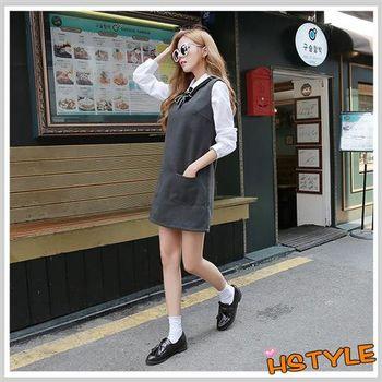 連身裙 小V領口袋拉鏈無袖洋裝EQ5483-創翊韓都