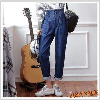 牛仔褲 鬆緊口袋牛仔直筒長褲GQ6074-創翊韓都