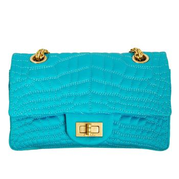 【展示品出清】CHANEL 展示品 綢緞質感鏈帶肩背包(土耳其藍)