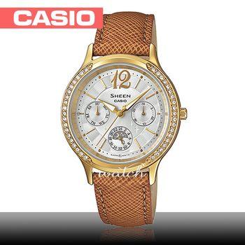 【CASIO 卡西歐 SHEEN 系列】送禮首選_氣質優雅_皮革錶帶_防水_指針女錶(SHE-3030BGL)