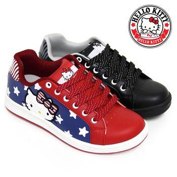 【HELLO KITTY】美式風格星星線條拼接雙色休閒板鞋-紅色、黑色