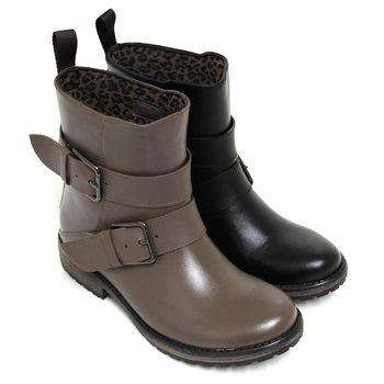 【GREEN PHOENIX】經典美型寬版金屬扣環短筒雨靴-卡其色、黑色