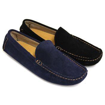 【GREEN PHOENIX】極簡素面縫線套入式牛麂皮平底休閒鞋(男鞋)-藍色、黑色
