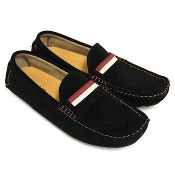 【GREEN PHOENIX】一字撞色雙彩套入式牛麂皮平底休閒鞋(男鞋)-黑色
