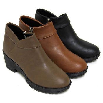 【Pretty】極簡反摺造型側拉鍊粗高跟短靴-可可色、棕色、黑色