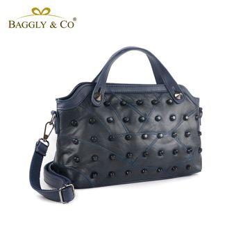 【BAGGLYCO】個性羊皮鉚釘手提側背包(二色)